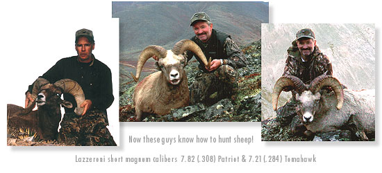 Now these guys know how to hunt sheep!  Lazzeroni short magnum calibers 7.82 (.308) Patriot & 7.21 (.284) Tomahawk