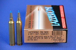 Lazzeroni® Factory Loaded Ammo in Caliber 6.53 (.257) Scramjet® 100gr Lubed Ballistic Tip