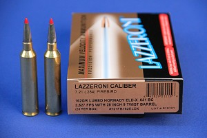 Lazzeroni® Factory Loaded Ammo in Caliber 7.21 (.284) Firebird® 162gr Lubed Hornady ELD-X